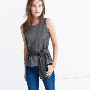 Madewell Gray French Rib Tie-Waist Tank Top